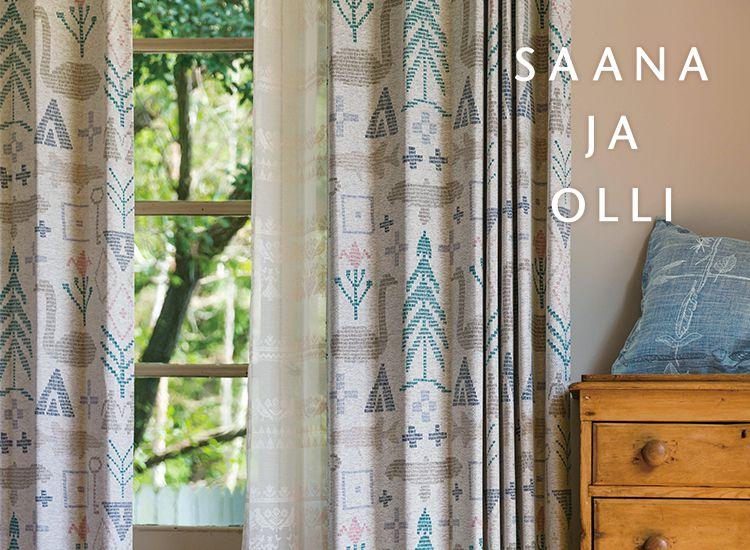 saana ja olli(サーナヤオッリ)のカーテン・オーダーカーテン・玄関マット・クッションカバーが入荷!トゥルクの自然や環境、フィンランドの神話や寓話からインスピレーションを受けたタイムレスで人々の感性に触れる北欧デザインが特徴的です。