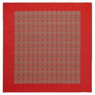 円紋白虎朱雀文錦 (91×93cm)レッド■美術工芸織物