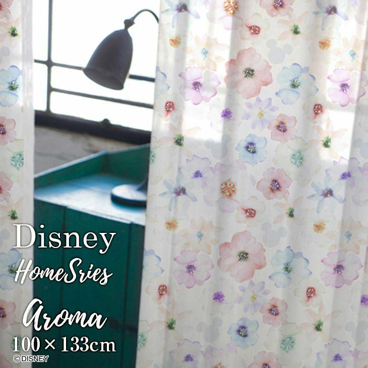 洗えるレースカーテン ディズニー/ミッキー おしゃれな北欧調 レースカーテン MICKEY/Aroma ミッキー アロマ