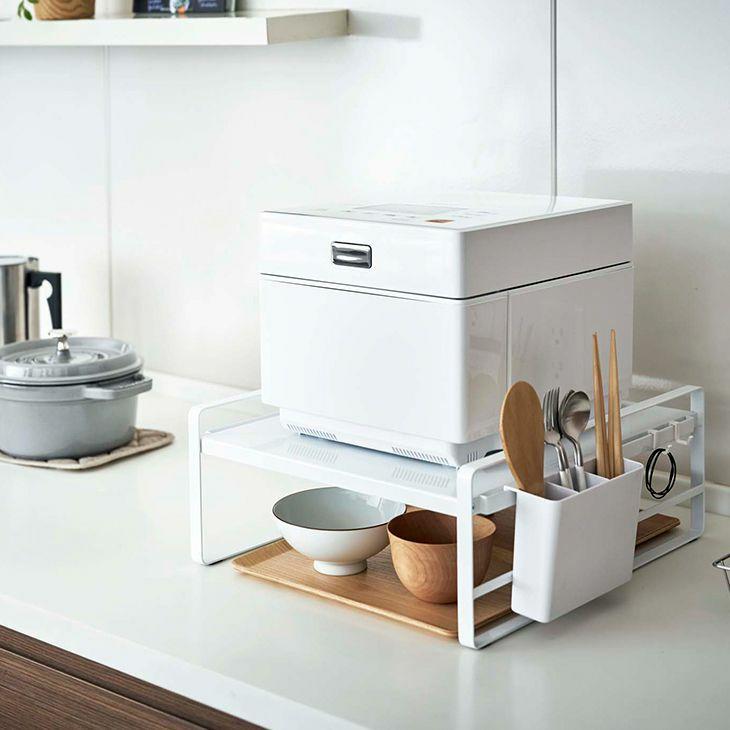 tower タワー 炊飯器周りの収納はコレ1つで!収納スペースが増やせるシンプルラック 炊飯器ラック(ホワイト)