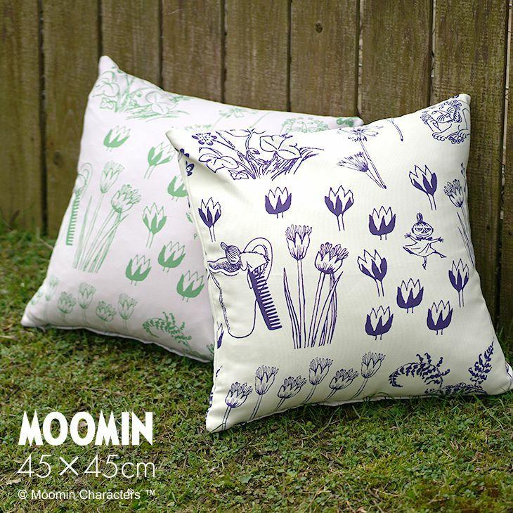 MOOMIN ムーミン シンプルな植物柄にミイやミムラ姉さん、ライオンがこっそり隠れたおしゃれなクッションカバー HIDE AND SEEK ハイドアンドシーク